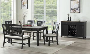 Homeplace Dark Oak and Black Dining Table