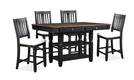 Homeplace Dark Oak and Black Counter Height 5-Piece Dining Set