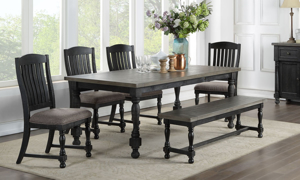 Briarwood Washed Black 5-Piece Dining Set