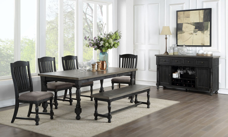 Briarwood Washed Black Dining Bench