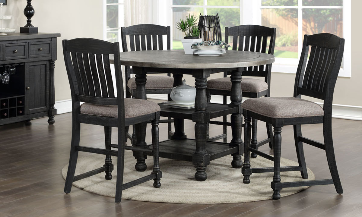 Briarwood Washed Black Counter Height 5-Piece Dining Set