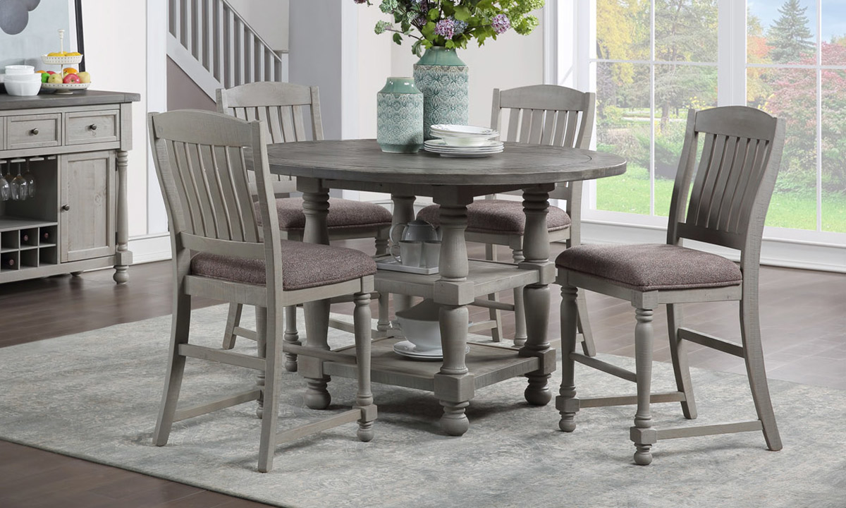 Sandstone French Grey Counter Height 5 Piece Dining Set The Dump Luxe Furniture Outlet