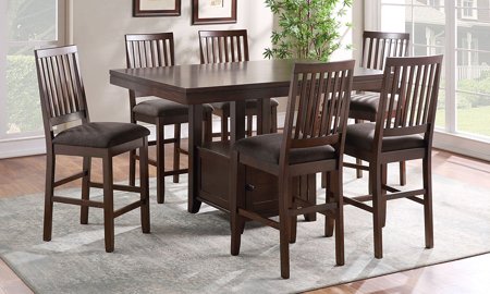 Yorktown Espresso Counter Height 5-Piece Dining Set