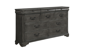 Louis Philippe Platinum Grey 10-Drawer Dresser