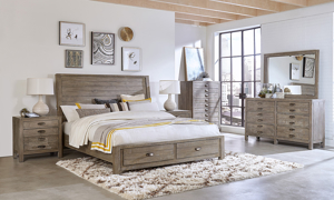Radiata River Rock Sleigh Storage Bedroom Sets