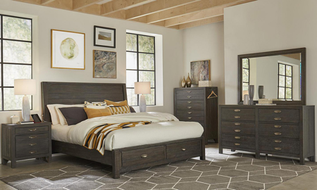 Radiata Brown Sleigh Storage Bedroom Sets