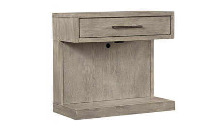 Platinum Grey Linen 1-Drawer Nightstand