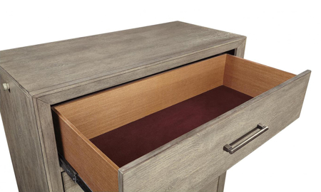 Platinum Grey Linen 5-Drawer Chest