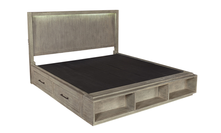 Platinum Grey Linen Bookcase Beds