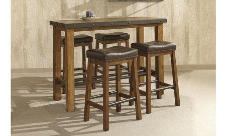 Taos Canyon Brown 5-Piece Bar Table Set