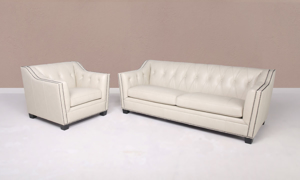 Crestwood Cream Leather 2-Piece Living Room Set