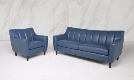 Easton Ocean Leather 2-Piece Living Room Set