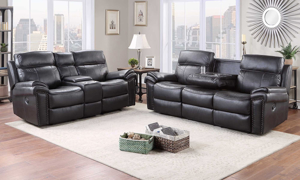 Tribeca Black Dual Reclining Sofa with Drop Down Table