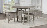 Abacus Alabaster and Honey Round Counter Height 5-Piece Dining Set