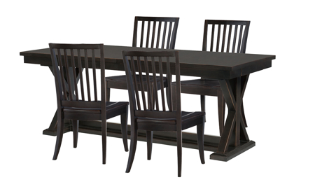 Rachael Ray Everyday Peppercorn 5-Piece Dining Set with Slat Back Chairs