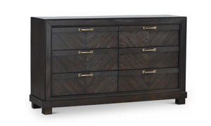 Montana Chevron Brown 6-Drawer Dresser