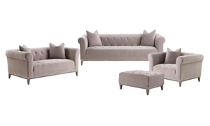 Marcella Mushroom Velvet Tufted 4-Piece Living Room Set