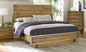 Forest Lane Brown Solid Pine King Panel Bed