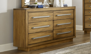 Forest Lane Brown Solid Pine 6-Drawer Dresser