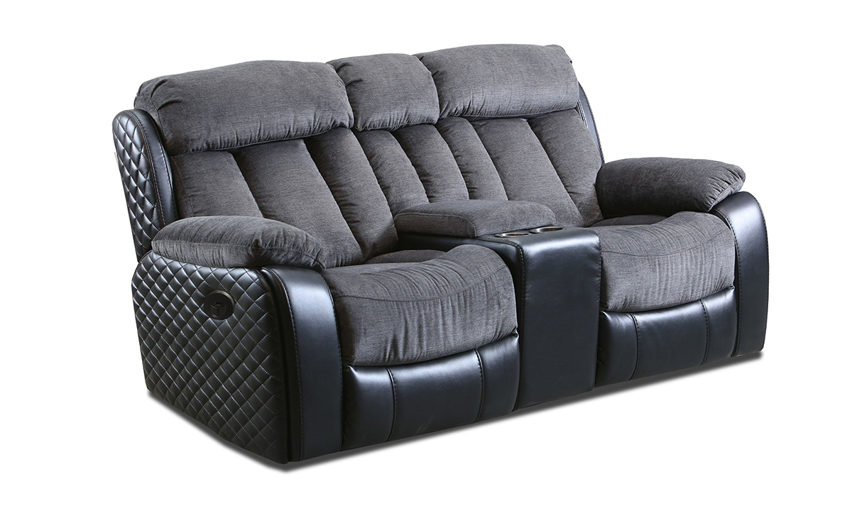 Connor Polo Grey Power Dual Reclining Console Loveseat
