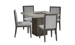 Modesto Square 5-Piece Dining Set with Grey Chairs