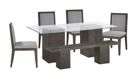 Modesto Double Pedestal 6-Piece Dining Set with Grey Chairs