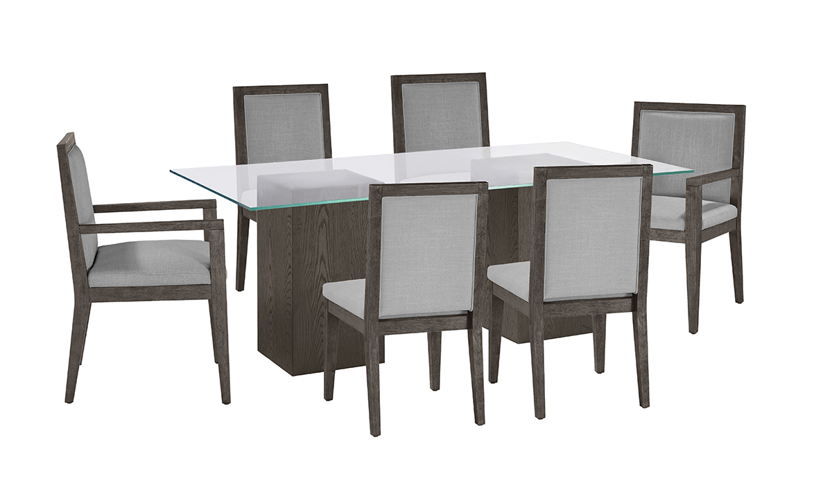 Modesto Double Pedestal 7-Piece Dining Set with Grey Chairs