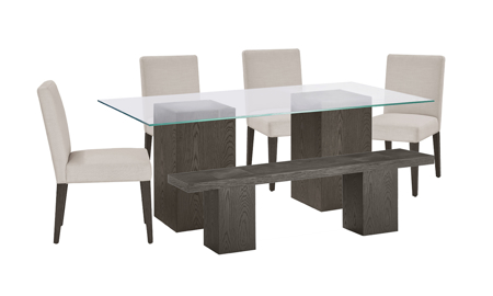 Modesto Double Pedestal 6-Piece Dining Set with Beige Chairs