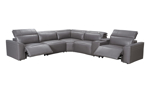 Savant Grey Leather Power Reclining Sectional