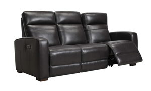 Jessica Jacobs Ferrara Espresso Leather Dual Power Reclining Sofa