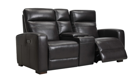 Jessica Jacobs Ferrara Espresso Leather Dual Power Reclining Console Loveseat
