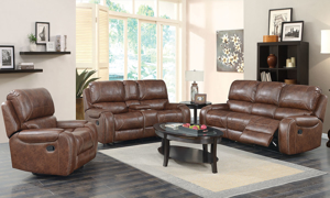 Sutter Caramel Dual Reclining Console Loveseat with Nail Head Trim
