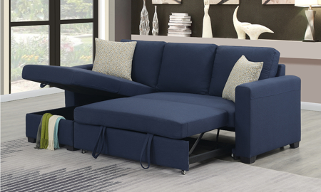 Langley Navy Reversible Sleeper Sofa Chaise