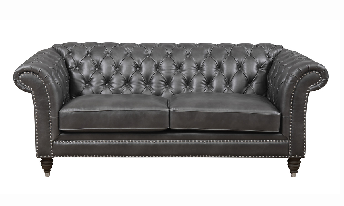 Capone Fossil Grey Chesterfield Loveseat