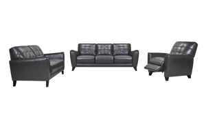 Metro Pewter Leather 3-Piece Living Room Set