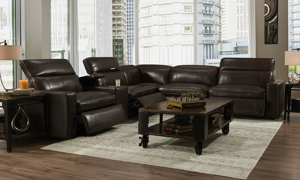 Omni Espresso Leather Power Reclining Sectional