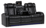 Quilted Top-Grain Leather Transformer Theater Sofa