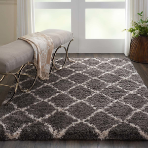 Picture of Luxe Shag LXS02 Charcoal & Beige Area Rugs