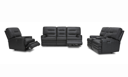 Forester Grey Power Reclining Leather 3-Piece Living Room Set