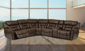 Buster Walnut Power Reclining Sectional