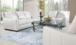 Lifestyle shot of the Rocky Mountain Leather Vail Bone Living Room Collection