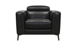 European styled black leather chair with adjustable headrest.