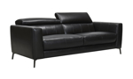 Black leather couch with adjustable headrests.