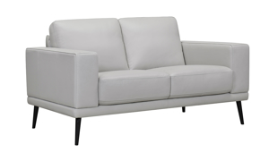 Ashbury Dove Leather Loveseat