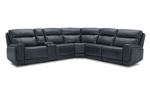 Blue power reclining sectional made from top-grain leather. Living room furniture at affordable prices.