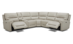Leather sectional in cream with 3 power recliners. Find more leather sectionals at great prices.