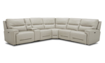 Cream power reclining sectional made from top-grain leather. Living room furniture at affordable prices.