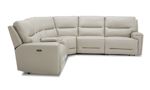Power sectional in neutral cream top grain leather. Affordable sectionals now on sale.