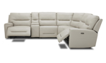 Power sectional in cream leather. Affordable sectionals now on sale.