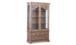Cardoso Sandstone display cabinet from Klaussner has 3 drawers and a grand display case.